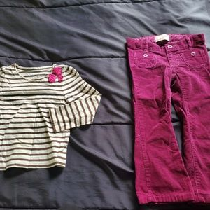 girl 3T dark pink corduroy pants and stripe top